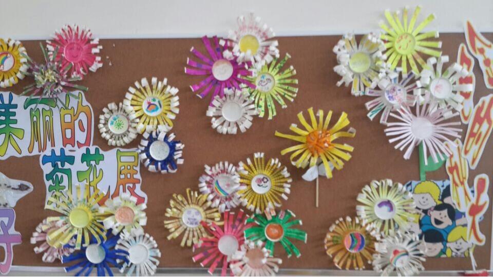 和变化用手工,剪贴的形式表现出来,我们把孩子的作品张贴在主题墙上图片