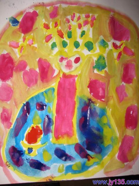小班幼儿绘画作品:水粉:花瓶2