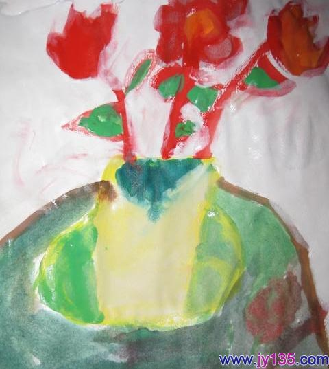 小班幼儿绘画作品:水粉:花瓶