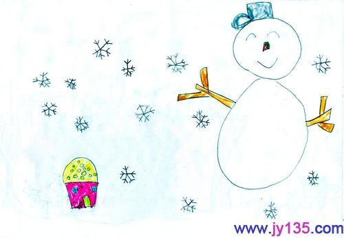 儿童画画图片冬天