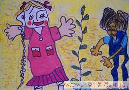 我们的树发芽了_幼儿园幼儿绘画作品
