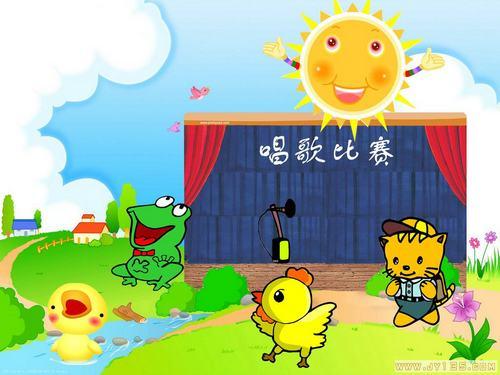 我们一起来学学.  2,小鸭子唱完了,小鸡连忙上台了,它是怎么唱的呢?