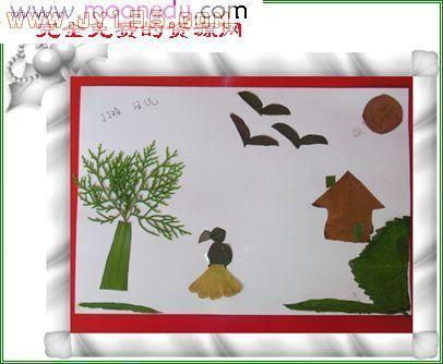 幼儿园剪贴画 树叶贴画 大雁