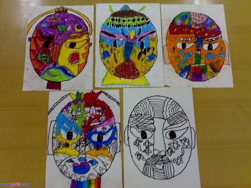 幼儿绘画作品欣赏:脸谱图-少儿兴趣-无忧考网