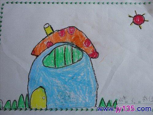 蘑菇房子——幼兒繪畫作品(圖)