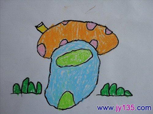 蘑菇房子——幼儿绘画作品(图)