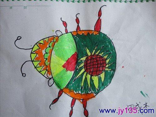 田成杰儿童画作品——美丽的瓢虫