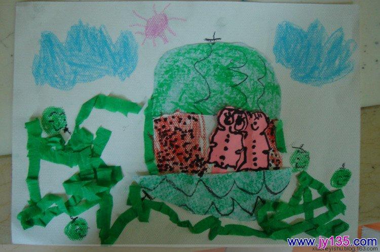 小班剪纸粘贴画-幼儿园中班剪贴画 西瓜 5岁