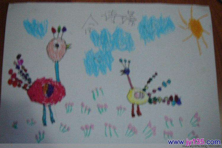 中班幼儿线描画图片——孔雀开屏_幼儿园幼儿绘画作品