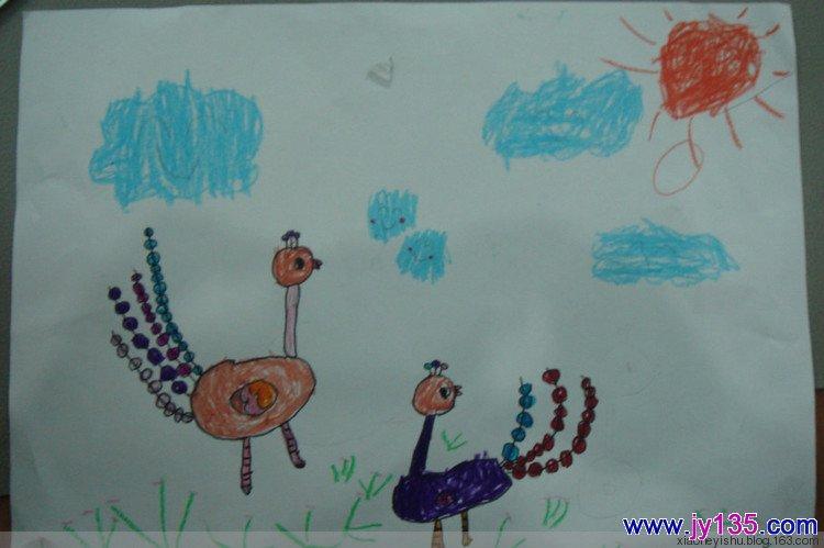 中班幼儿线描画 孔雀开屏 园