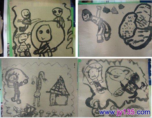 中班美术创意班作品展示_幼儿园幼儿绘画作品