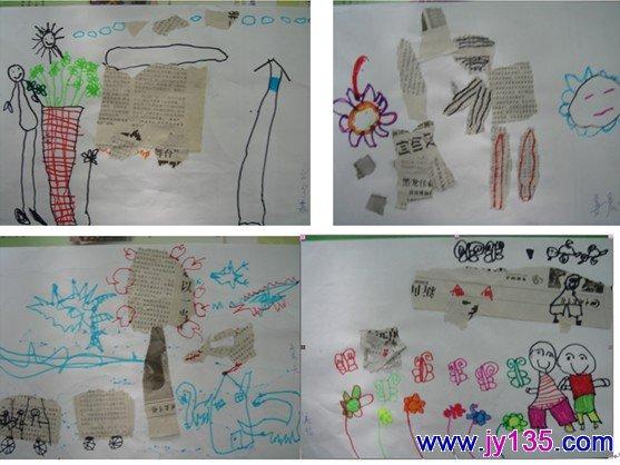 我们中班美术创意班,共有15位幼儿参加。10月11日我们从《我和报纸做游戏》开始了第一个美术创意活动,紧接着,线描画:《网鱼》、《老虎》;彩笔画:《我们的幼儿园》、《长颈鹿》、《鼠小弟》、《小手变变变》;吹画:《美丽的树》;毛笔画:《可爱的小兔》、《运动的小朋友》;写生画:《小熊》、《杯子》;水粉画:《我和颜料碰碰碰》……       一个个教学活动深深吸引着孩子们,他们感觉在与画笔、材料、颜色一起玩、一起游戏,没有太多的规矩,有的只是一份专注和喜爱。而我和孩子们也有了更多的相
