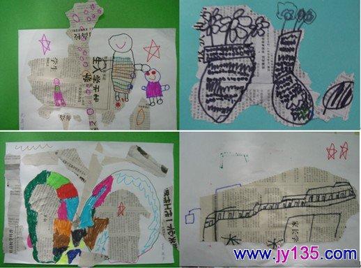 毛笔画:《可爱的小兔》,《运动的小朋友》;写生画:《小熊》,《杯子》